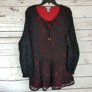 Catherine's Red w/ Black overlay Tunic 1X